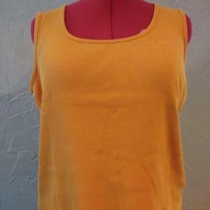 Lauren Ralph Lauren 1X Orange Ribbed Knit Tank Top